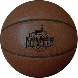 Dark colored custom synthetic leather basketball with black colored debossed logo. The minimum order is 100 pieces.