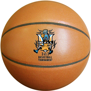 Custom synthetic leather basketball with multi-color printed logo. Opposite side printing of the same logo is free.