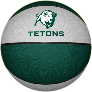 Green and white colored rubber basketball.