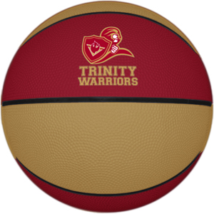 Personalized rubber basketball with logo. The logo will not chip off with play.