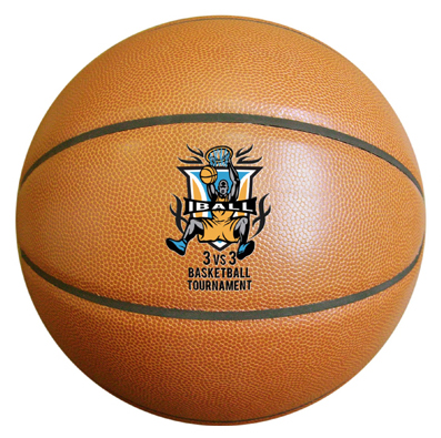 Personalized synthetic leather basketball for basketball camps.