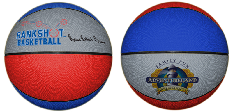 Rubber basketball with opposite side printing for basketball camps.