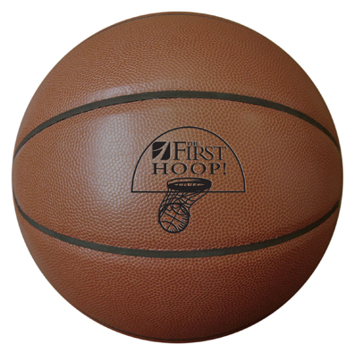 Dark colored synthetic leather basketball for basketball camps.