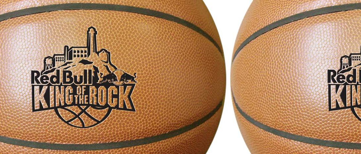 Synthetic leather basketballs with custom logo.