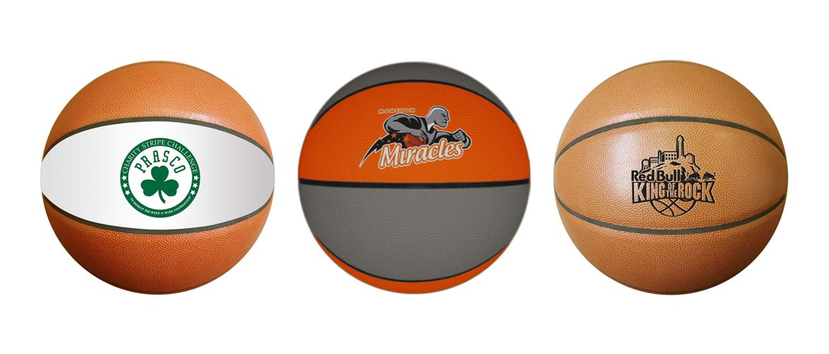 Personalized basketballs with custom printed logo.