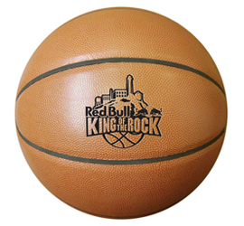 Synthetic leather basketballs with debossed logo.
